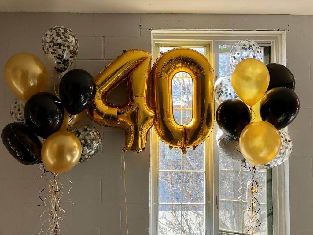 40th birthday balloon decorations for party