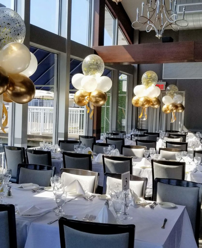 Chrome gold, pearl white latex balloons with gold confetti balloons for christening