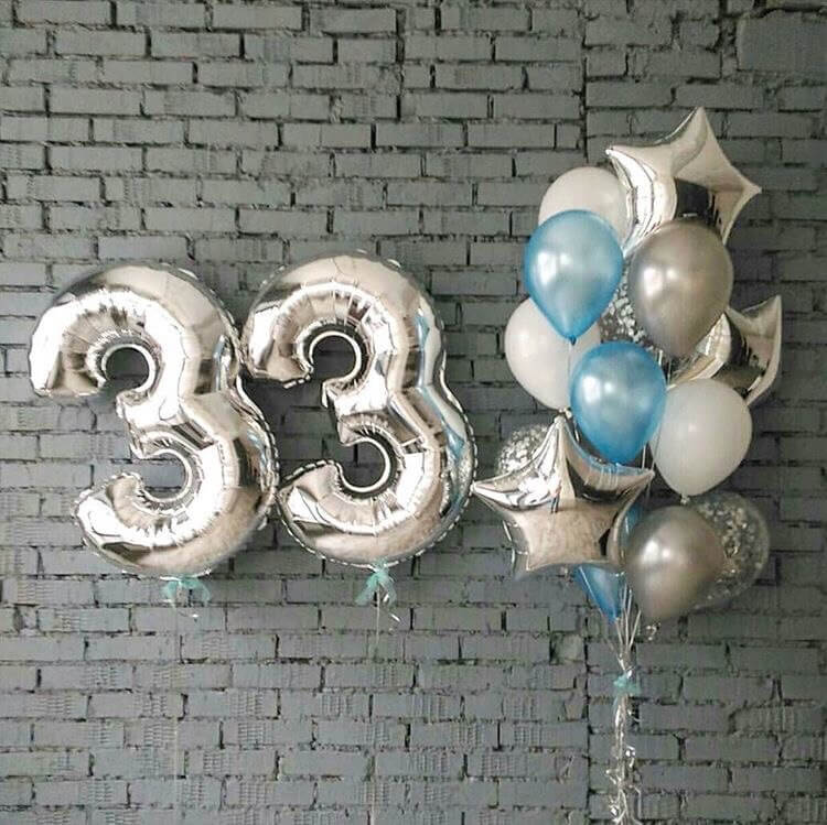 silver balloon decorations for 33rd birthday with white and aqua balloons