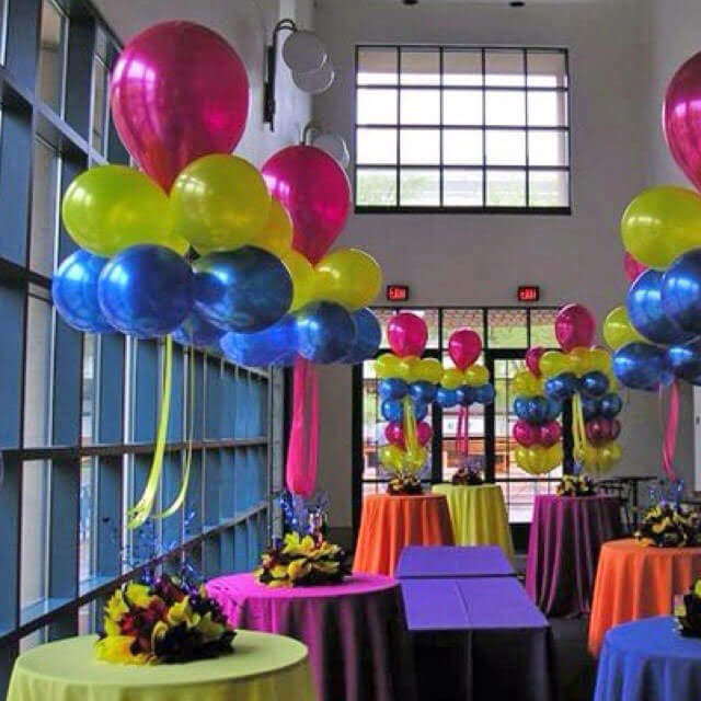birthday balloons decoration with coloful latex balloons