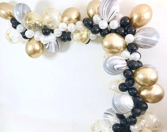 black gold white and black marble half balloons garland