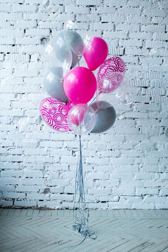 hot pink gray clear and printed balloon for party